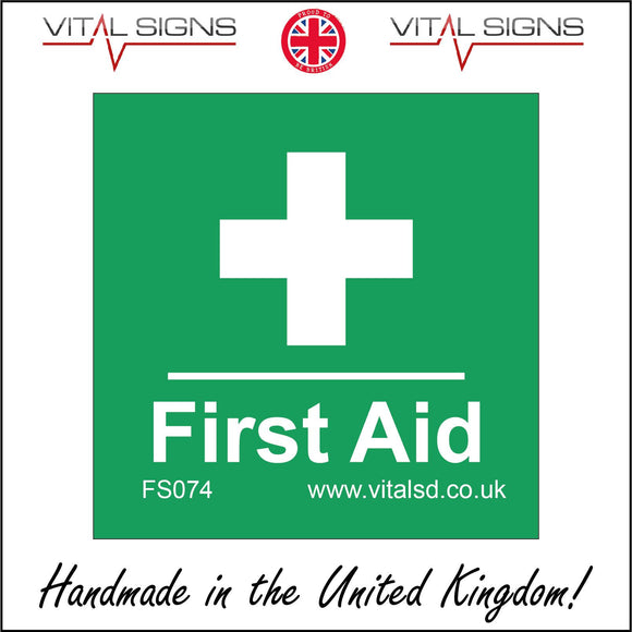 FS074 First Aid Sign with Cross
