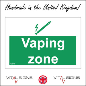 NS078 Vaping Zone Sign with e-Cigarette
