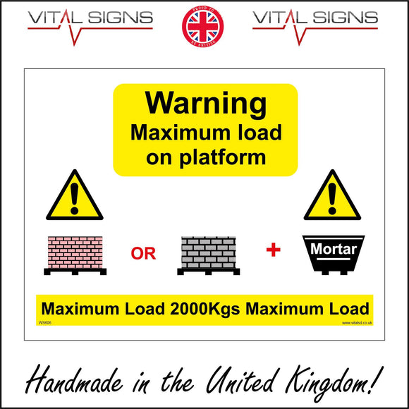 WS606 Warning Maximum Load On Platform Sign with Triangle Exclamation Mark Bricks