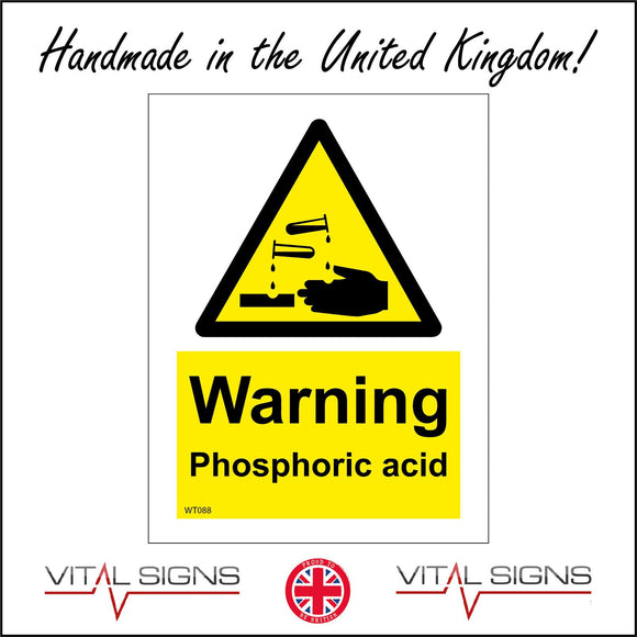 WT088 Warning Phosphoric Acid Sign with Triangle Test Tubes Hands