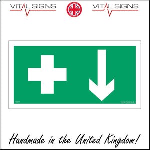 FS077 First Aid Here Sign with Cross Arrow