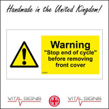 "WS887 Warning ""Stop End Of Cycle"" Before Removing Front Cover Sign with Triangle Exclamation Mark"