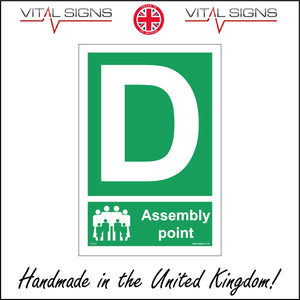 FS174 Fire Assembly Point D Sign with People Letter D