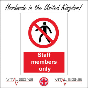 PR162 Staff Members Only Sign with Person Circle
