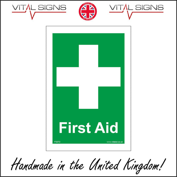 FS072 First Aid Sign with Cross