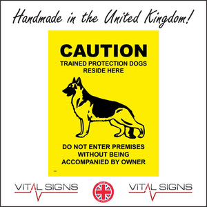 SE055 Caution Trained Protection Dog Sign with Dog