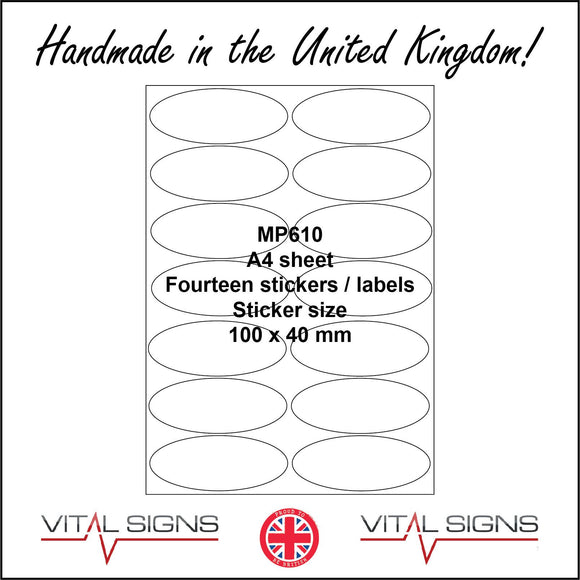 MP610 White Self Adhesive Sticky Label Sticker Custom A4 Sheet 14 Ovals Matt