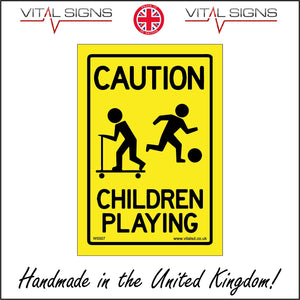 WS507 Caution Children Playing Sign with Children Football Scooter