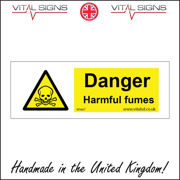 WS667 Danger Harmful Fumes Sign with Triangle Skull & Crossbones