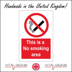 NS056 This Is A No Smoking Area Sign with Circle Cigarette