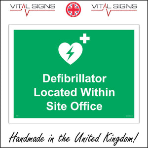 FS191 Defibrillator Located Within Site Office Sign with Plus Sign Heart Lightning Bolt