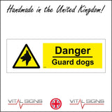 WS286 Danger Guard Dogs Sign with Triangle Dog