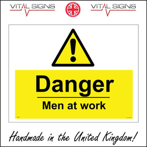 WS418 Danger Men At Work Sign with Triangle Exclamation Mark