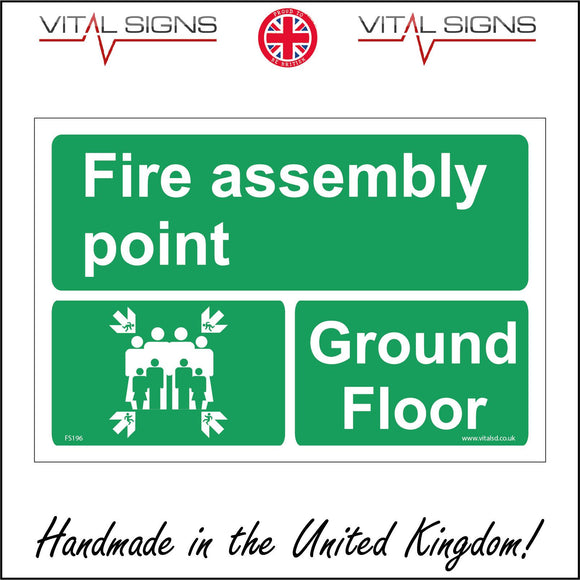 FS196 Fire Assembly Point Ground Floor Sign with Four Arrows Pointing To Group Of People Running