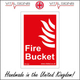 FI132 Fire Bucket Sign with Flames