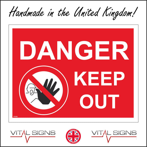 PR096 Danger Keep Out Sign with Circle Hand Face Diagonal Line Through