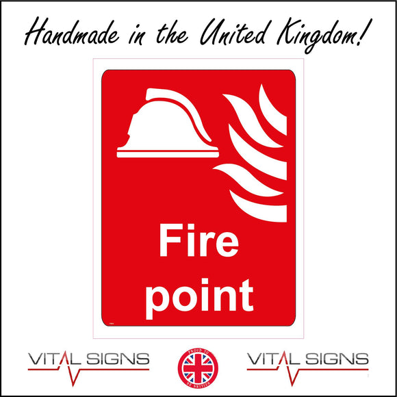 FI010 Fire Point Sign with Fire Helmet