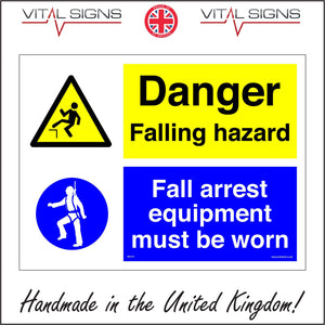 MU215 Danger Falling Hazard Fall Arrest Equipment Must Be Worn Sign with Triangle Circle 2 People Safety Harness