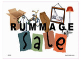 GE282 Rummage Sale Sign with Mirror Lamp Shirt Bike Box