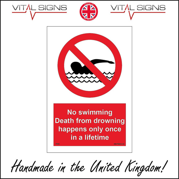 PR354 No Swimming Death From Drowning Happens Once In LIfetime Sign with Circle Person Swimming