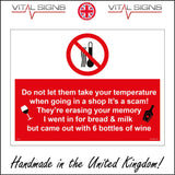 HU278 Do Not Let Them Take Temperature Memory Bottles Wine Sign with Thermometer Wine Glass Bottle