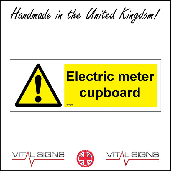 WT083 Electric Meter Cupboard Sign with Triangle Exclamation Mark