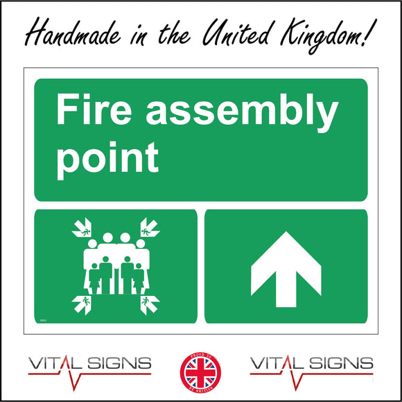FS211 Fire Assembly Point Sign with Four Arrows Pointing To Group Of People Running