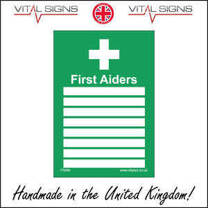 FS084 First Aiders Sign with Cross