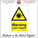 WS166 Warning Lazer Hazard Sign with Triangle Laser Beam
