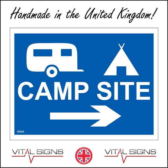 VE204 Camp Site Right Arrow  Sign with Right Arrow Caravan Tent