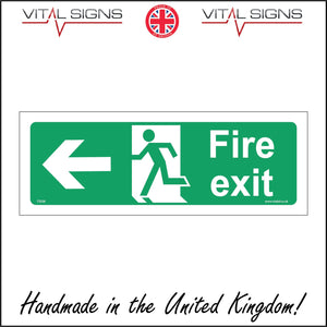 FS036 Fire Exit Left Sign with Running Man Door Arrow