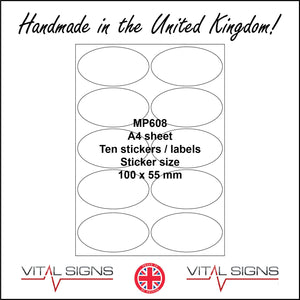MP608 White Self Adhesive Sticky Label Sticker Custom A4 Sheet 10 Ovals Text