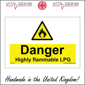 WS112 Danger Highly Flammable Lpg Sign with Triangle Fire