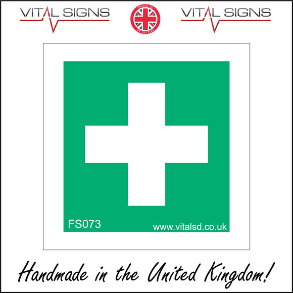FS073 First Aid Sign with Cross
