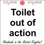 GE381 Toilet Out Of Action Sign