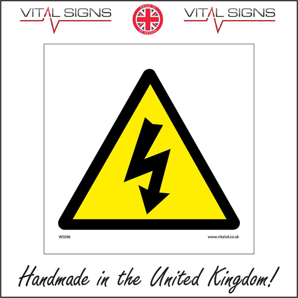 WS098 Electric Shock Sign with Triangle Lightning Arrow