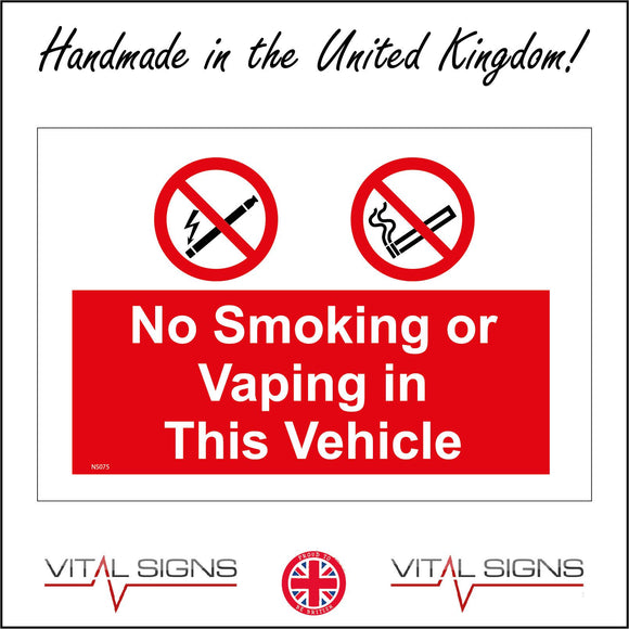 NS075 No Smoking Or Vaping In This Vehicle Sign with E-Cigarette Lightning Bolt Cigarette