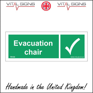 FS134 Evacuation Chair Sign with Tick