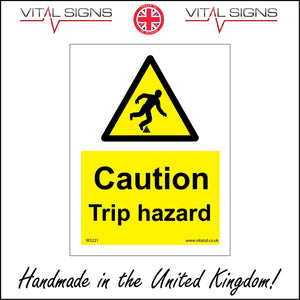 WS221 Caution Trip Hazard Sign with Triangle Body Falling