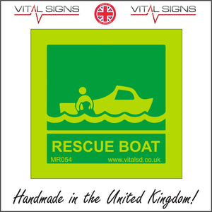 MR054 Rescue Boat Sign with Boat Waves People
