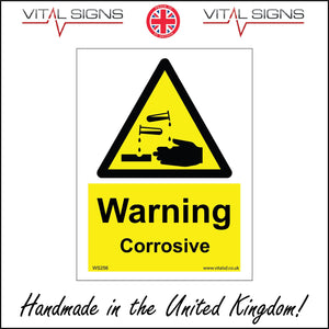 WS256 Warning Corrosive Sign with Triangle Hands Acid Test Tube