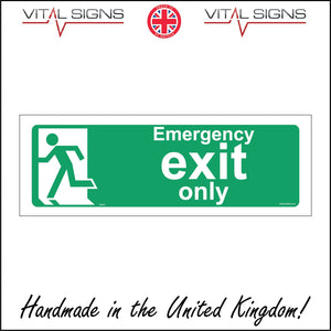 FS018 Emergency Exit Only Sign with Running Man Door