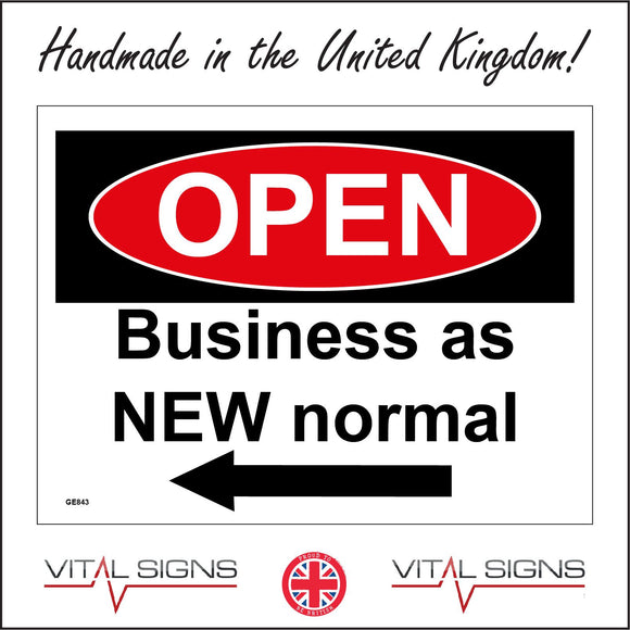GE843 Open Business As New Normal Left Arrow Sign