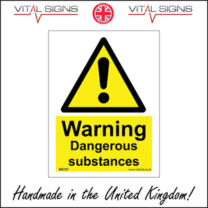WS151 Warning Dangerous Substances Sign with Triangle Exclamation Mark