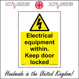 WS900 Electrical Equipment Within. Keep Door Locked Sign with Triangle Lightning Bolt