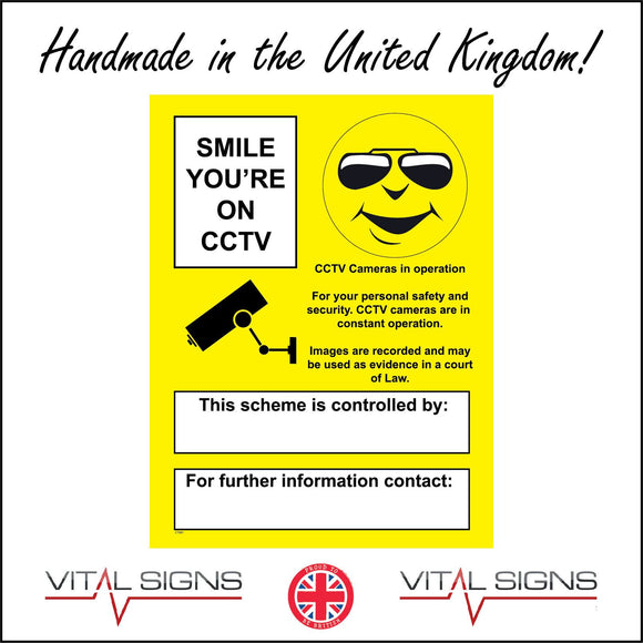 CT031 Smile You're On Cctv Sign with Camera Happy Face