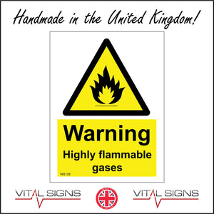 WS125 Highly Flammable Gases Sign with Triangle Fire