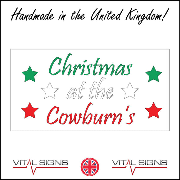 XM264 Christmas At The Choice Choose Personalise Name Words Sign with Stars