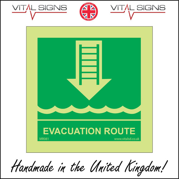 MR081 Evacuation Route Sign with Sea Arrow Ladder