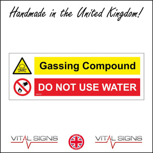 HA121 Gassing Compound Do Not Use Water Sign with Skull Circle Fire Water